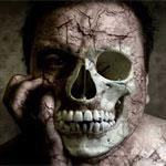 Rotten face and skull