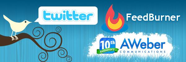 twitter, aweber, feedburner logos